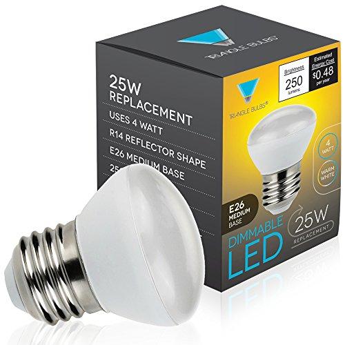 TriGlow T90201, LED 4-Watt Dimmable R14 Mini Reflector, 25W Equivalent, E26 Medium Base, Light Bulb