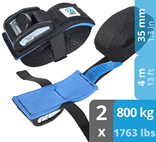 valonic Spanngurt mit Klemmschloss HD | 4m | gepolstert | EN-12195-2 | schwarz | Spanngurte Zurrgurte für Motorrad | 2 Stück | 800 Kg | 35mm