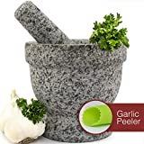 Mortar and Pestle Set - Unpolished Granite Bowl with Bonus Garlic Peeler   Great for Guacamole!   2...