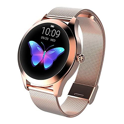 LUNIQUESHOP Round Smartwatch, Bluetooth 5.0 Montre Intelligente Femme avec Fréquence Cardiaque, Podometre Sommeil Suivi de Performance, Bracelet connecté, pour Android/iOS (Or Rose)
