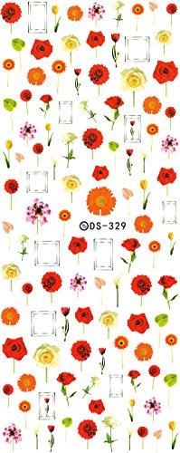 ウォーターネイルシール 花柄 選べる20種類 極薄・重ね貼りOK (20-X81)
