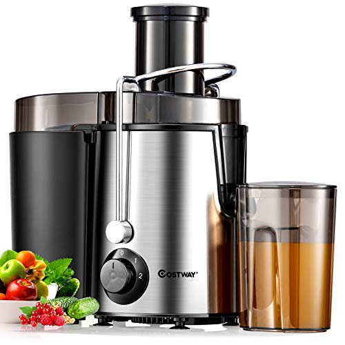 COSTWAY Juicer Machines with 2.5inch Wide Mouth, 400W Masticating Juicer Extractor, Stainless Steel Centrifugal Juicer, Easy to Clean
