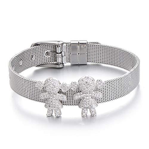 Jewellery Bracelets Bangle For Womens Full Clear Zircon Charm Boy Girl Family Bracelet Stainless Steel Mesh Couple Bracelets Bangles Women Men'S Jewelry Girlgirlsilver