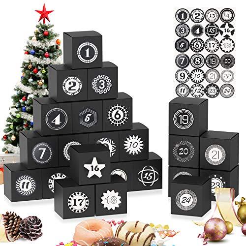 JWTOYZ Adventskalender zum Befüllen Boxen, 24 Adventskalender Geschenkbox mit Zahlenaufklebern, Weihnachts-Geschenkschachtel (Schwarz)