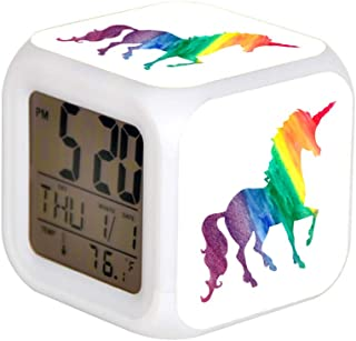 LED Alarm Colock 7 Colors Desk Gadget Alarm Digital Thermometer Night Cube Bright Home Decor Cool Rainbow Watercolor Unicorn Pretty Kids Fun