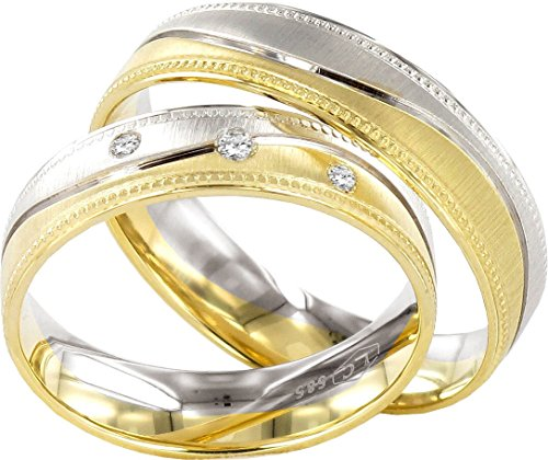 JC Wedding Rings 2 Hearts Collection Wedding Rings 9ct Yellow & White Gold Band J122