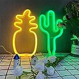 ENUOLI Neonlicht Kaktus Neonlicht Schilder Ananas Neon Nachtlicht mit Sockel Batterie/USB Powered Neon Lampen Kinder Lichter für Party Bar Home Hochzeit Dekoration Licht Neon für Schlafzimmer