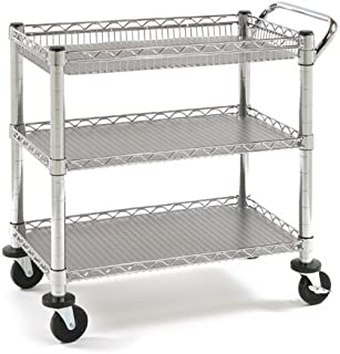 Seville Classics 3-Tier Heavy-Duty NSF-Certified Commercial Shelving with Wheels, 34