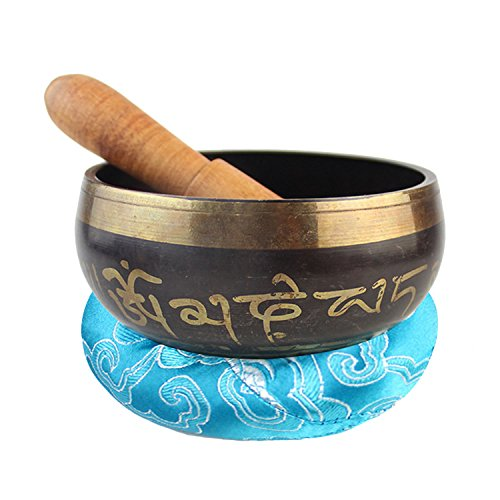 Cuenco Tibetano - Antiguo tibetano cantando Bowl con Striker Mallet y almohadilla de cojín de color color Pad Set de meditación para Chakra Healing Prayer Yoga (Tazón de 8cm, Almohada cosida de 8cm)