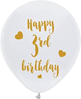 White 3rd Birthday Latex Balloons, 12inch (16pcs) Boy Girl Gold Happy Third Birthday Party Decorations Supplies