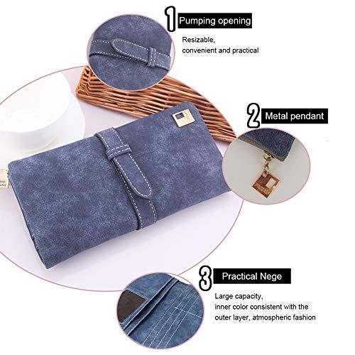 Woolala Womens Wallet Drawstring Clutch Long Purse Grey