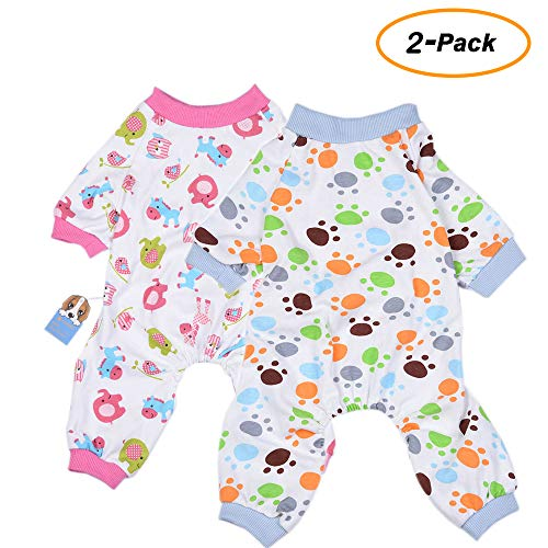 2er Pack Hund Kleidung Hunde Katzen Einteiler weich Hund Schlafanzug Baumwolle Puppy Strampelanzug Pet Jumpsuits Cozy Bodys für kleine Hunde und Katzen von hongyh