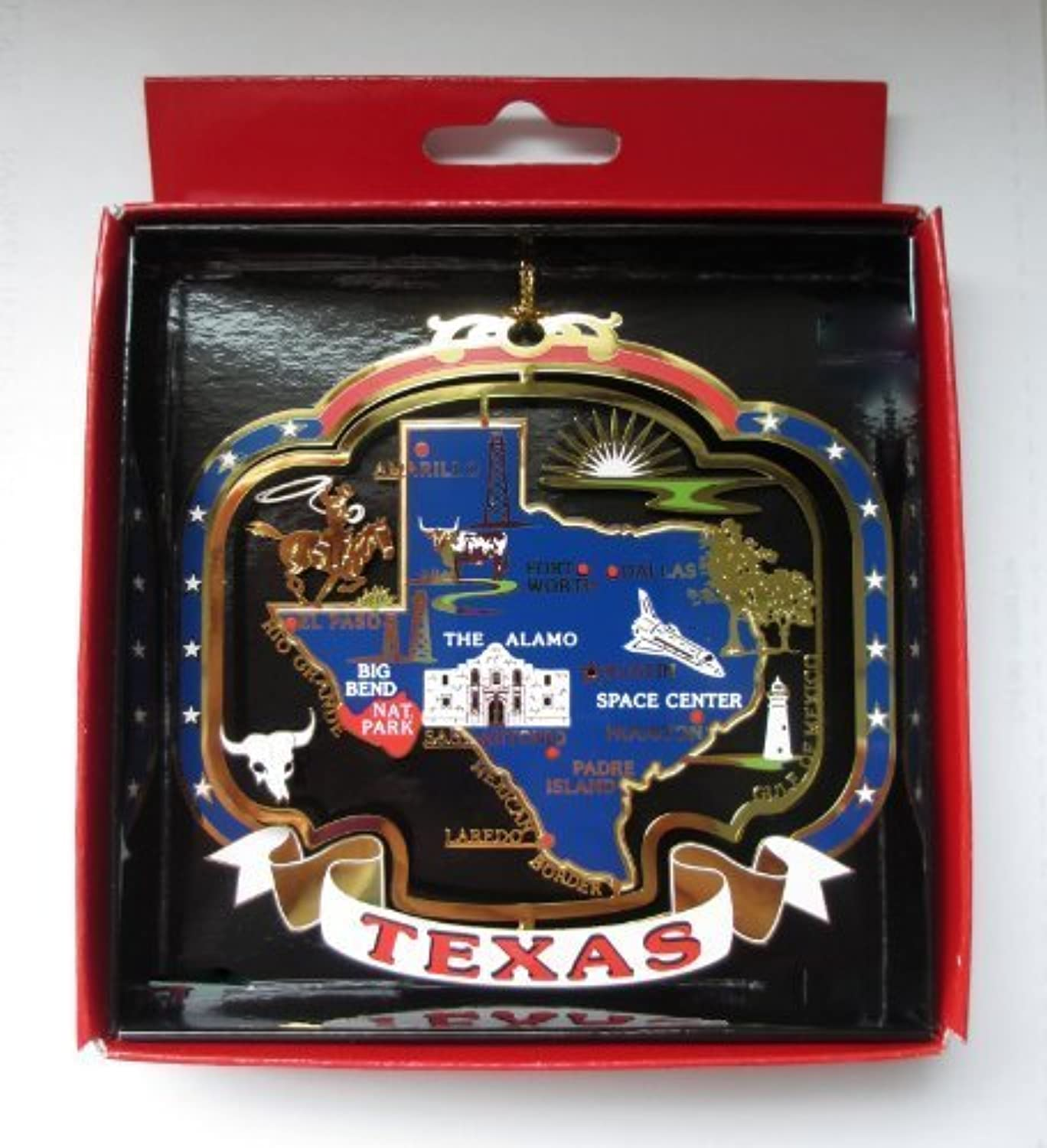 TEXAS ORNAMENT Large Brass State Landmarks Souvenir Gift by Nations Treasures