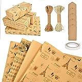 MIZIJIA Papel para envolve, papel para envolver regalos, 10 piezas, papel kraft reciclable para...