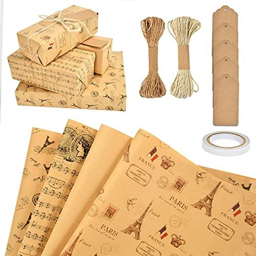 MIZIJIA Papel para envolve, papel para envolver regalos, 10 piezas, papel kraft reciclable para envolver regalos para Navidad, San Valentín, bricolaje (vintage)