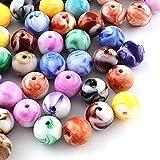 200 unidades de perlas acrílicas multicolor, perlas sueltas, redondas, efecto piedras preciosas, cuentas de plástico de colores, patrón de tinta opaca