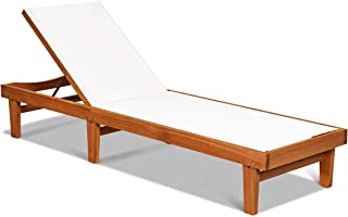 Tangkula Outdoor Wood Chaise Lounge Chair, Patio Chaise Lounger with Adjustable Back, Eucalyptus Wood Reclining Lounge Cha...