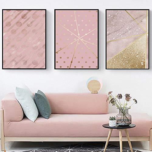 AdoDecor Pintura al óleo Lámina de Oro Rosa Textura de Fondo Imagen Póster Impresión en Lienzo Pintura Arte de la Pared Sala de Estar Decoración del hogar 30x40cmx3 con Marco