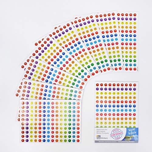 Pegatinas recompensa papel del profesor para el alumno - 15 láminas A5, 2100 pegatinas - Material escolar libreta actividad manual - Diversión para el aprendizaje de los niños (caras sonrientes color)