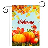 Elcoho Fall Garden Flag Double Sided,Rustic Quote House Yard Flag, Autumn Harvest Pumpkin Primitive Pickup Garden Yard Decorations, Farm Truck Seasonal Outdoor Flag 12'' x 18''