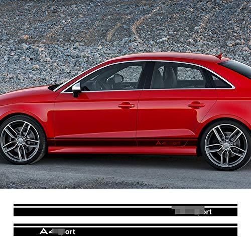 DLDBB 2 uds Pegatinas de Puerta Lateral de Coche calcomanías de Estilo de Rayas DIY para Audi A3 8P 8V A4 B6 B8 B7 A6 C5 C6 C7 Q5 Q7 Accesorios de Coche