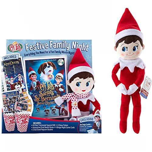 "Elf on The Shelf Festive Family Night Set: Animated Movie DVD, 2 12"" Plushee Pal Snugglers, and Movie Night Accessories"