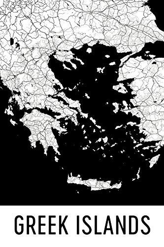 """Modern Map Art Presión de las islas griegas, las islas griegas, griego islas mapa 24 """"X 36"""""""