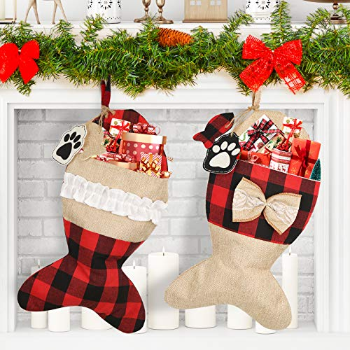 Mocoosy Pet Cat Christmas Stockings 19 Inch, Large Fish Shaped Burlap Plaid Christmas Stockings Fireplace Hanging Stockings Christmas Decorations for Home Holiday Xmas Decor 2 Pack