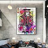 SXXRZA Obra de Arte de Lienzo 70x90 cm sin Marco Cartas de Juego Retro Carteles e Impresiones Retro Arte de la Pared Bar Bar Casino decoración del hogar imágenes