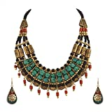 Zephyrr Tibetan Necklace and Earrings Set For Women Statement Choker Ethnic Junk Handmade Mosaic Jewelry For Girls