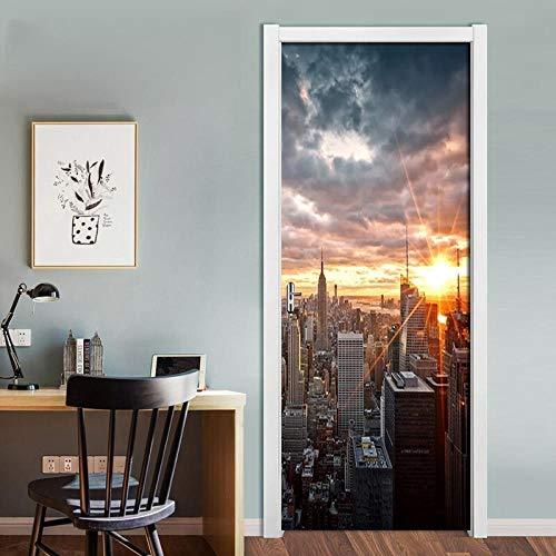FCFLXJ 3D Türtapete Wandbilder New York City 80x200cm Selbstklebend Tür Poster Vinyl Entfernbar Mauer Aufkleber Zuhause Dekor Tapete-Kunst-dekorative Wand-Abziehbilder für Schlafzimmer
