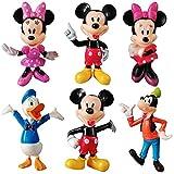 Juego de Minifiguras de Mickey,Cake Topper Mickey Mouse Decoración de pastel de cumpleaños de dibujos animados para Cumpleaños Decoración de La Torta del fiesta suministros 6 Piezas