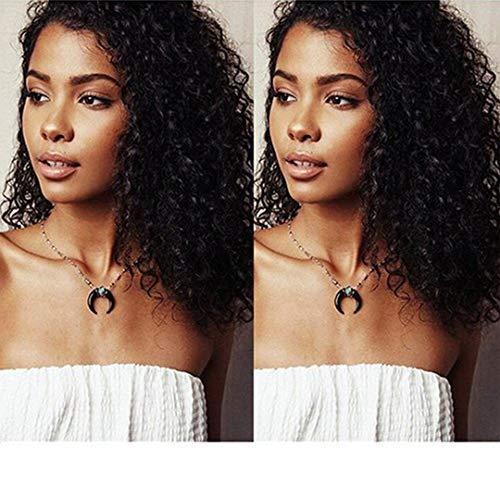 Deep Curly cheveux humains perruque 360 dentelle frontale perruques sans colle brésilienne vierge cheveux pré pincées naturel Hairline avec bébé cheveux 10 ' ' 130% densité (16 pouces 130% densité)