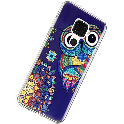 Herbests Kompatibel mit Huawei Mate 30 Lite Hülle Silikon Ultra Dünn Handyhülle Luminous Leuchtend Soft TPU Schutzhülle Crystal Silikon Kristall Durchsichtige Hülle Case,Mandala Eule