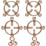Non-Pierced Nipplerings, Body Piercing Rings, Adjustable Nipplering Shield Rings with Bell, Steel Shields Screw Body Piercing Circle Clamp (Rose Gold)