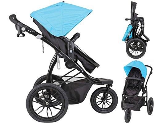 Papilioshop Manta – Cochecito ligero para niños y bebés ideal para caminar, hacer senderismo, deporte, jogging de montaña, correr, ir a la playa, tiene ruedas grandes y altas., azul claro