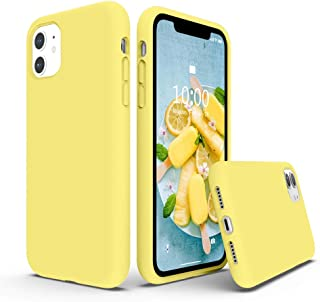 SURPHY Silicone Case Compatible with iPhone 11 Case 6.1 inch,  Liquid Silicone Full Body Thickening Design Phone Case (with Microfiber Lining) for iPhone 11 6.1 2019,  Yellow