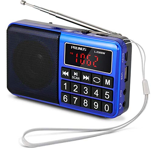 PRUNUS L-238 SW AM FM Radio Portable Digital Battery Operated Radio with Neodymium Speaker, Big Button, Auto Save, USB Flash Drive TF Card AUX Input MP3 Player (Blue)