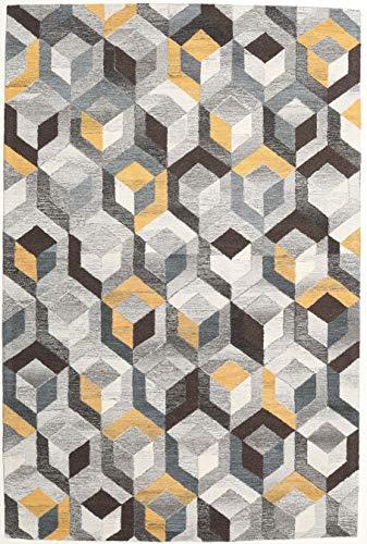 CarpetVista Alfombra Cube - Gris/Dorado 200x300 Alfombra Moderna