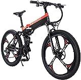 Bicicleta Eléctrica Bicicleta plegable eléctrica para adultos, bicicleta de ciclismo de aleación de aleación de aleación de aluminio ligero, carga máxima de 120 kg, tres pasos plegables, bicicleta eco