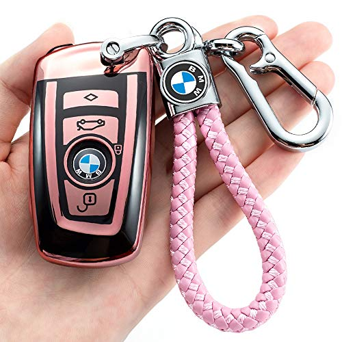 for BMW Key Fob Cover Case for BMW 1 3 4 5 6 7 Series and Compatible with BMW X3 X4 M2 M3 M4 M5 M6 Keyless Smart Remote, Pink