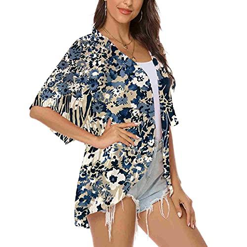Blusa Bikini,Estampado De Flores De Las Mujeres Chiffon Traje De Baño Encaje Bikini Cover Ups Beach Cardigan Elegante Blusa Chal Loose Tops Verano Sunscreen Outwear Regalo, Azul, XXL