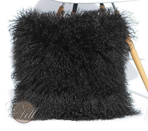 Kissen Hülle schwarz Tibet Lammfell Mongolisches Schaffell Tibetlammfell 50 x 50 cm