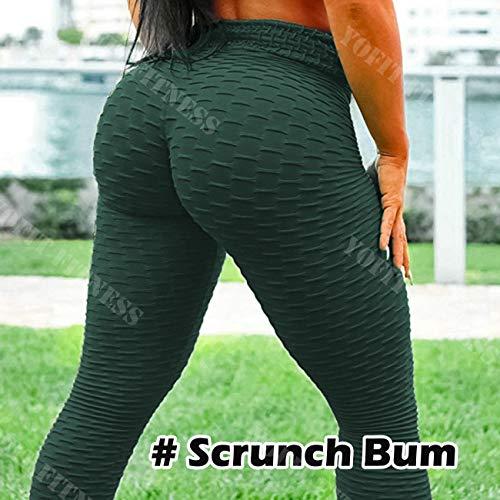 YOFIT Womens Sexy Ruched Butt Push Up High Waist Training Sport Stockings Yoga Pants, Green, M