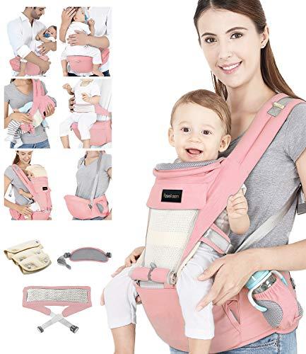 Azeekoom Babytrage Ergonomische, Kindertrage mit Hüftsitz, Befestigungsgürtel, Lätzchen, Schultergurt, Kopfbedeckung für Neugeborene bis Kinder von 3 bis 48 Monaten (Rosa)