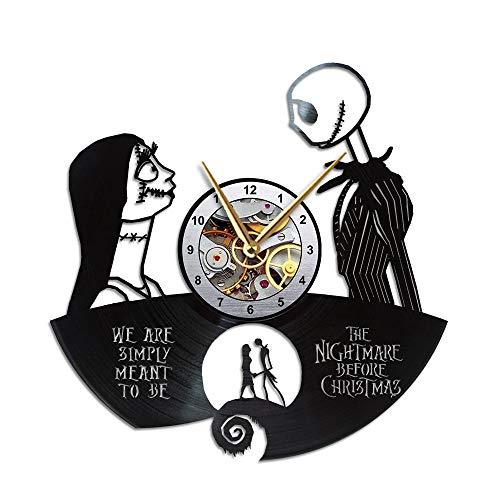 AroundTheTime - The Nightmare Before Christmas Clock - Jack and Sally Gift Decor - Vinyl Record Wall Clock