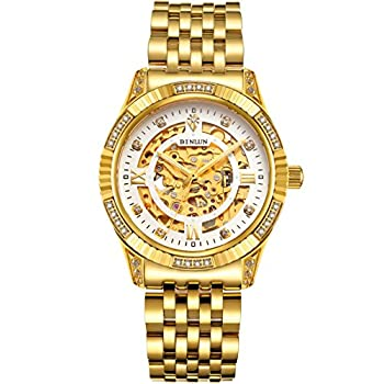 BINLUN Men s Gold Automatic Luxury Skeleton Watches Gift to Father  Gold 6