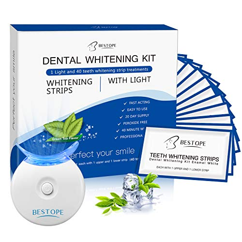 Teeth Whitening Kit,BESTOPE Teeth Whitening Strips(40Pcs) with Light,Professional Tooth Whitener Kit | Tooth Enamel Safe Non-Slip Adhesive & Non Peroxide | Remove Stains,Fast Result & No Sensitivity