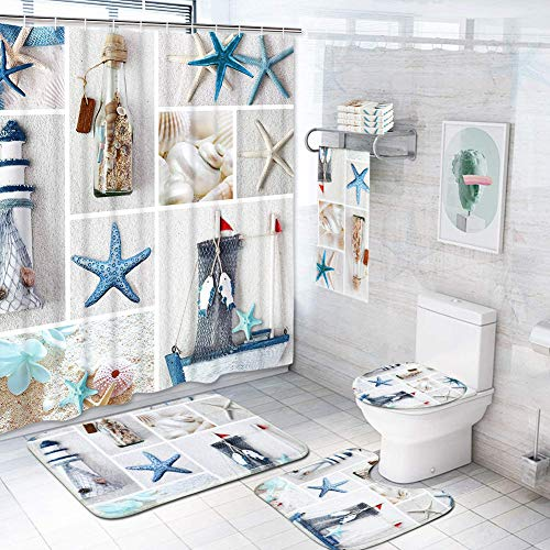 7 Pcs Nautical Shower Curtain Sets with Non-Slip Rugs, Toilet Lid Cover and Bath Mat, Marine Sail Sailboat Beach Star fishs Shell Sea Life Curtain with 12 Hooks