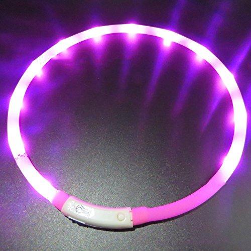 LaiXin LED halsband hond S, LED hondenhalsband siliconen oplichtende halsband waterdicht verstelbaar oplaadbaar met USB-kabel voor kleine honden, 35cm, wit, roze (oplaadbaar), 50cm